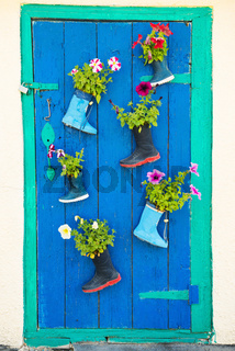 Old children rubber boots with blooming summer flowers on the entrance door of a house