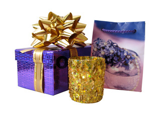 violet box with package over white background