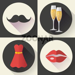 Romantic Date Icons, flat design style