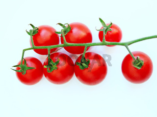 Cherry tomatoes isolated on the white