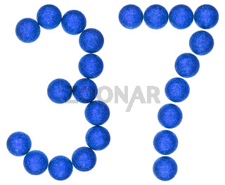 Numeral 37, thirty seven, from decorative balls, isolated on white background