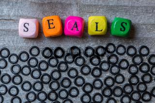 Seals Buchstabenwürfel und Dichtungen auf grauem Holz visualisierung