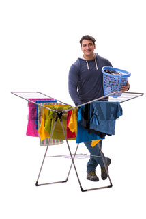 The husband man doing laundry isolated on white