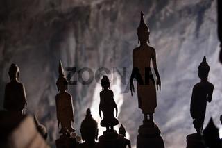 Die Pak Ou Hoehlen bei Luang Prabang in Zentrallaos von Laos in Suedostasien.