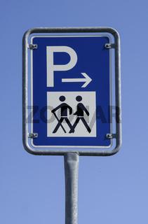 Wanderparkplatzschild, Oehringen, Deuschland