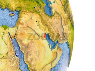 Kuwait on realistic globe