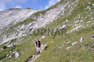 Wanderung beim Nebelhorn, Allgäuer Alpen, Bayern, Deutschland, Europa
