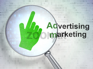 Advertising concept: Mouse Cursor and Advertising Marketing with optical glass