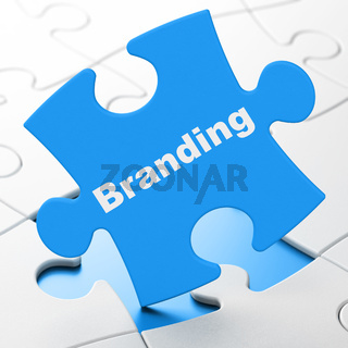 Marketing concept: Branding on puzzle background