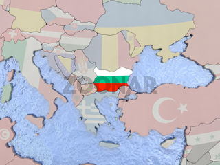 Bulgaria with flag on globe
