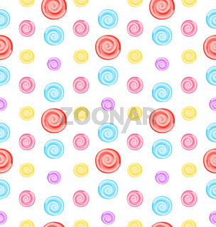 Seamless Pattern with Colored Lollipops