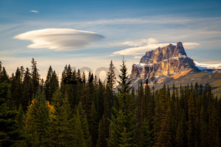 Castle Mountain in Banff National Park with a spectacular lentic