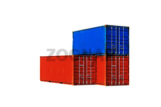 Three different colored sea containers