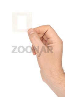 Photo frame for slide in hand