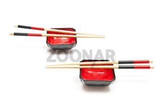 Chopsticks and plates