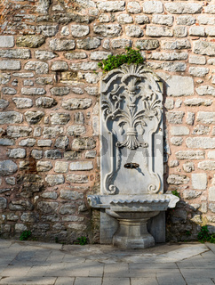 Marble sculpted drinking fountain at Gulhane Park, Sultan Ahmet district, Istanbul