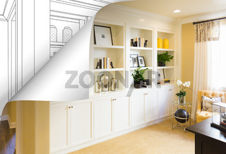 Built-in Shelves and Cabinets Photo with Page Corner Flipping to Drawing Behind