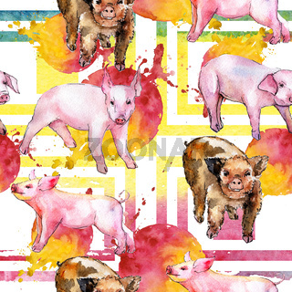 Pig wild animal in a watercolor style pattern.