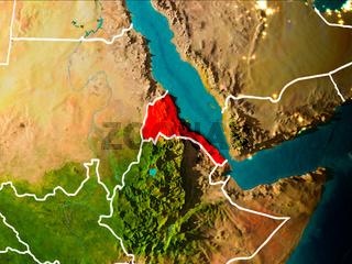Map of Eritrea on Earth