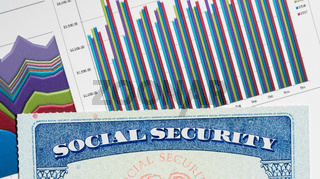 USA Social Security Card on graphs of income for retirement