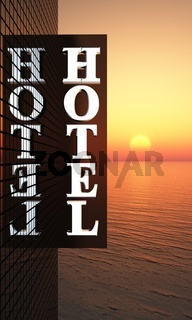 3D - Sunset Hotel Sign 02