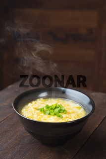 Hot rice porridge bowl