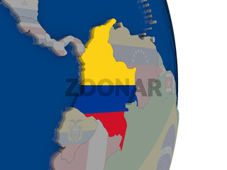 Colombia with its flag