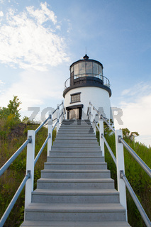Small Castle Hill lighthouse in Newport, Rhode Island, USA