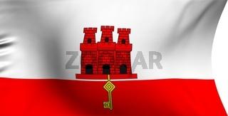 Flag of Gibraltar against white background. Close up.