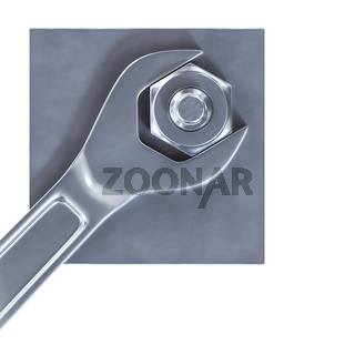 a hexagon nut with a wrench