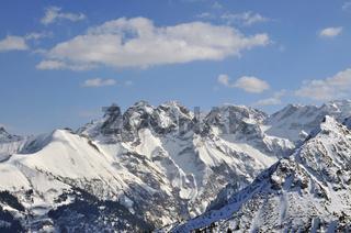 Allgäuer Hauptkamm vom Fellhorn aus, Winter, Schnee, Oberstdorf, Allgäuer Alpen, Allgäu, Bayern, Deutschland, Europa