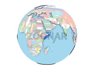 Somalia on globe isolated