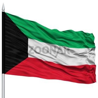 Kuwait Flag on Flagpole
