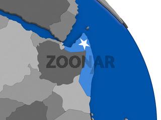 Somalia and its flag on globe
