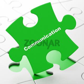 Marketing concept: Communication on puzzle background