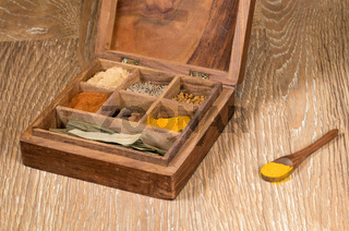 Collection of Indian spices in wooden box