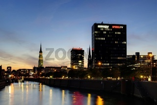 Spiegelgebäude Hamburg Nachtaufnahme