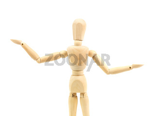 A wooden mannequin isolated against a white background