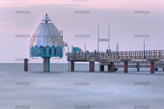 Diving gondola, Zingst peer, Fischland-Darß-Zingst, Mecklenburg-Vorpommern, Germany, Europe