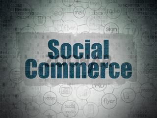 Advertising concept: Social Commerce on Digital Data Paper background