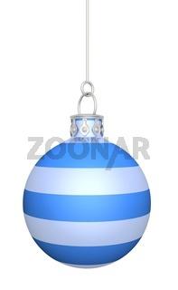 Weihnachtskugel - Blau Weiß gestreift hängend