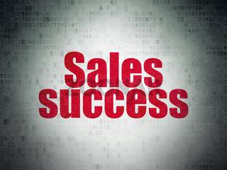 Marketing concept: Sales Success on Digital Data Paper background