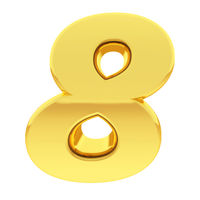 Gold number 8 with gradient reflections isolated on white. High resolution 3D image