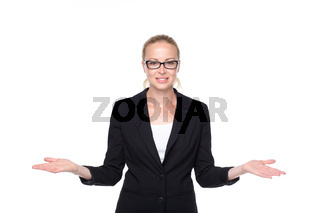 Business woman showing hands sign to sides.