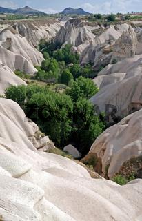 Säbeltal, Tuffsteinlandschaft bei Göreme, Kappadokien, Anatolien, Türkei