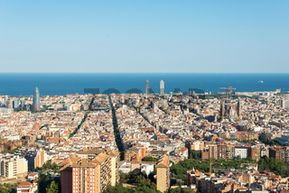 View from the Parc del Guinardó to Barcelona and the mediterranean sea