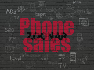 Marketing concept: Phone Sales on wall background
