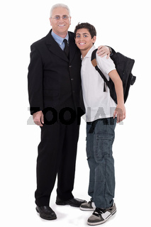Old business man embraces a teenager on isolated background
