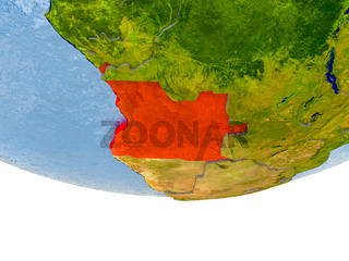 Angola in red on Earth model