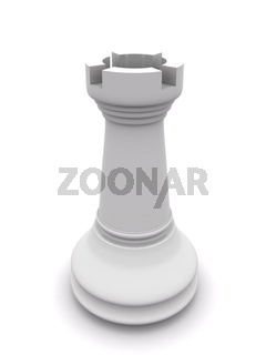 white rook. 3D isolated on white